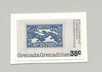 Grenada Grenadines #266 Stamp on Stamp, Maps 1v Imperf Proof on Card
