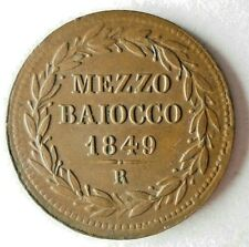 1849 VATICAN (PAPAL STATES) 1/2 BIAOCCO - AU - Very Rare Coin - Lot #J11