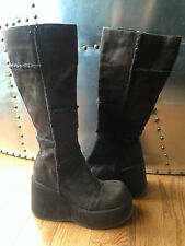 Bliss Brown Suede wedge heel boots sz 7