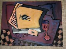 Guitar Painting Still Life Cubist Oil On Canvas By Listed Artist