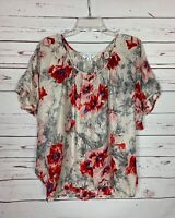 Cabi Women's S Small Gray Red Floral 100% SILK Short Sleeve Spring Top Blouse