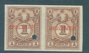 Peru 1909, 1c Due, IMPERF PAIR, American Bank Note Co. SPECIMEN overprint. #J40