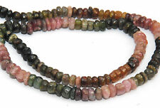 Demi-brin de chunky multicolore tourmaline faceted heishi perles, 5 x 2 mm