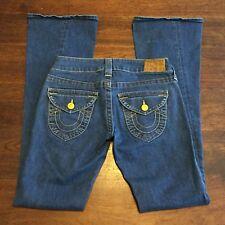True Religion Women's Jeans Twisted Flare Sz 26 (28x33) Flap Pocket Thick Stitch