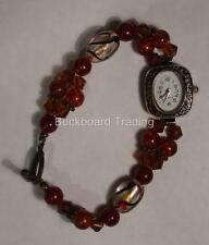 Watch with Fashion Bead Band New Battery FREE SHIPPING