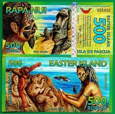 Easter Island 500 Rongo 2012, Polymer Uncirculated Banknote FREE SHIPPING