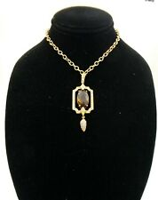 Suzanne Somers Marquise Smoky Topaz CZ Pendant Necklace HSN NIB