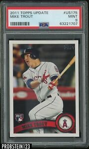 """2011 Topps Update #US175 Mike Trout Angels RC Rookie PSA 9 """" SHARP CORNERS """""""