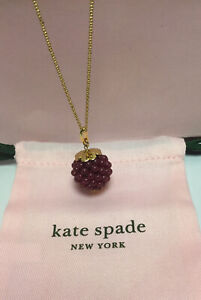 """NWT kate spade new york very berry pendant Long Necklace BURGUNDY Tone 28"""" + 3"""""""