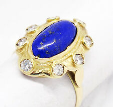 Vintage 14k Yellow Gold 0.75tcw Lapis W/ Diamonds Halo Cocktail Ring Size 6.75