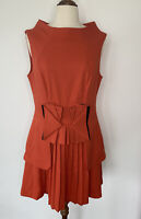 Cue Dress Orange Pleated Skirt Bow Size 12