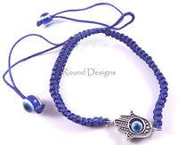 Hamsa Blue Silver Bracelet Evil Eye Charm Kabbalah Hand Of Fatima Judaica