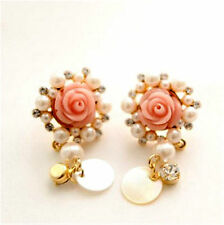 Pink resin rose flower stud earrings with crystal pearl shell