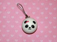 Panda Bread Bun Squishy Cell Phone Charm Kawaii with Pink Bow Squishies