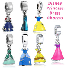 New Silver Disney princess Fairy Tale Dress Pendant Charm fits European Bracelet