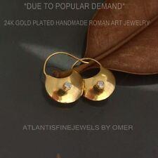 925k Silver Roman Art Handmade Bag Earrings W/ White Topaz 24k Gold Vermeil