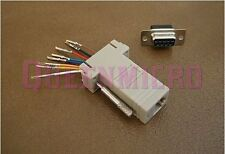 DB9 Female to RJ45 Modular Adapter Jack Connector 8P8C Serial RS232 NEW