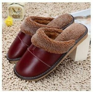 Leather Winter Home Slippers Men Women Non-Slip Cotton Thick Warm House Shoe New
