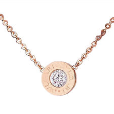 Jewelry diamond Stainless Steel Rose Gold Plated Necklace Short Chain T1