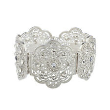 Lux Accessories Silver Tone Floral Filigree Crystal Rhinestone Stretch Bracelet