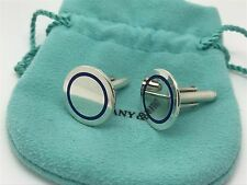 Tiffany Co Sterling Silver RARE Blue Enamel Round Cuff Links Cufflinks