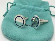 Tiffany Co Sterling Silver RARE Blue Enamel Round Cuff Links Cufflinks