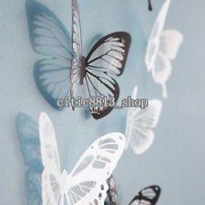 Cute 18Pcs 3D Black/White Butterfly Crystal Decor Wall Sticker Decor Wall Decals