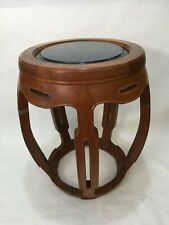 "Vintage Chinese Wood Plant Stand with Marble Top, 18 1/2"" High, 13"" Diameter"