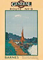 Barnes, 1919, English Travel London General Omnibus Company Poster