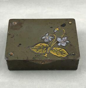 Antique German GES GESCH Arts & Crafts Bronze/Brass Stamp Box - Floral Design