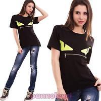 Maglia donna maglietta t-shirt zip occhi maniche corte avvitata nuova CC-1423