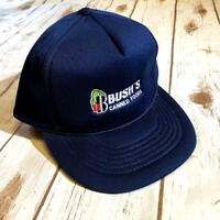 Vtg Bush's Canned Foods Snapback Hat Navy Blue Vintage Advertising Promo Cap