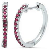 Ruby Hoop Earrings in Solid Sterling Silver -  JULY BIRTHSTONE