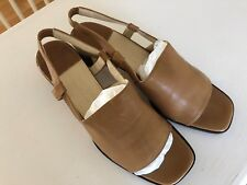 COLE HAAN City Slingback Sandal Tan Leather small Heel Size 8.5M Career