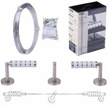 PREMIUM 5M CURTAIN DRAPE WIRE ROD SET Stainless Steel Cable Cord Kit Metal Line