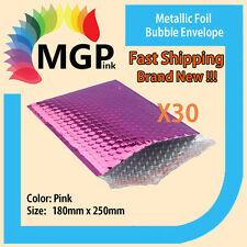 30 x Pink Metallic Foil Bubble Wrap Bags Mailing Padded Envelops 180x250mm