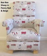 Armchair Red Beige Chair Patchwork Baa Baa Sheep Fabric Peony Kitchen Lounge New