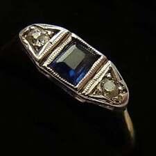 Antiguo Art Deco 18 CT Oro, Platino, Zafiro Y Diamantes Anillo Trilogía