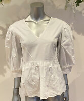 Influence Blouse Top Size 8 & 12 White Cotton Embroidered Peplum Poplin New GO81