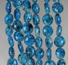 "10MM BLUE SESAME JASPER GEMSTONE FLAT ROUND CIRCLE LOOSE BEADS 16"""