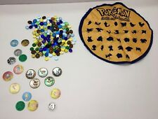 Vintage Pokemon Shooter Marbles Battle Coin Pogs Counters Play Mat Pouch Lot