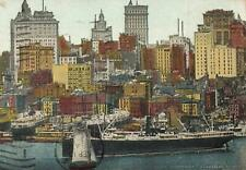 Riverfront New York Ships Docks Wharves Skyscraper c1910 Vintage P5