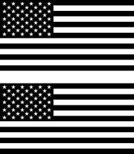 2x USA Gloss Black American Flag Decals Jeep Truck Auto Fender Bumper Sticker
