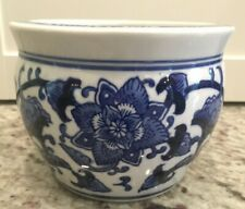 NEW Chinese Blue White Porcelain Small Fishbowl Planter Jardiniere Chinoiserie