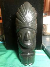 Large Vintage Carved Solid Black Onyx Hawaii Tiki Figure Sculpture Bust