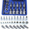 29Pcs Driver E Torx Star Bit 1/4'' 3/8'' 1/2'' Chrome Socket Kit Tool Set Case
