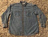 VTG Levi's Blue Jean Shirt Large Red-Tab Denim 90s Work Chore L Cowboy