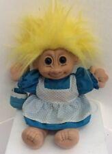 Russ Troll Doll Cloth Body Bright Yellow Hair Blue Eyes White Blue Dotted Dress