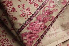 Antique printed cotton c 1830 pink + Rare border old material chintz fabric