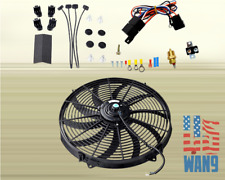 """16"""" Electric Universal Push/Pull Cooling Tornado Slim Fan + Thermostat Relay Kit"""
